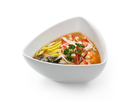 seafood soup: Noodles Soup with Shrimp, Crab Meat and Vegetable Stock Photo