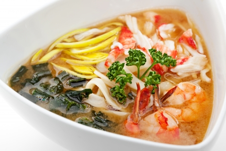 crab meat: Noodles Soup with Shrimp, Crab Meat and Vegetable Stock Photo