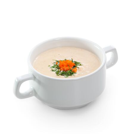 Cream of Salmon Soup with Tobiko (flying fish roe) photo