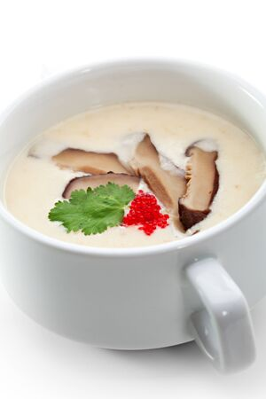 Cheese Cream Soup with Bacon, Mushroom and Caviar photo