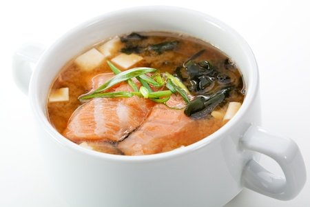 seafood soup: Japanese Cuisine - Miso Soup with Salmon, Seaweed and Tofu Cheese