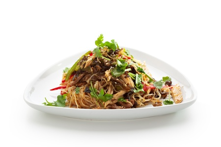 chinese noodles: Chinese Cuisine - Crystal Noodles with Beef and Asparagus Stock Photo