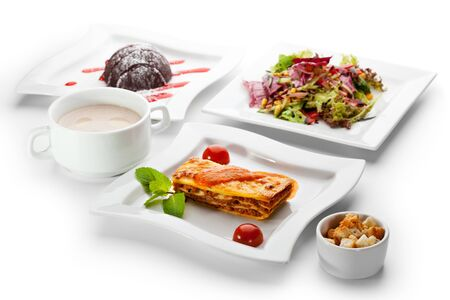 European Lunch - Vegetables Salad, Cream of Mushrooms Soup, Lasagna Bolognese and Cake photo