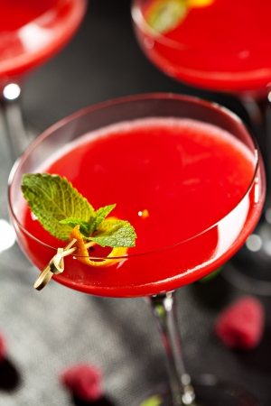 Red Alcoholic Cocktail with Raspberry Gin. Garnished with Fresh Mint Leaves and Lemon Citron photo