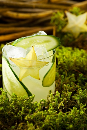 collins: Cocktail - Gin Collins with Cucumber Stock Photo