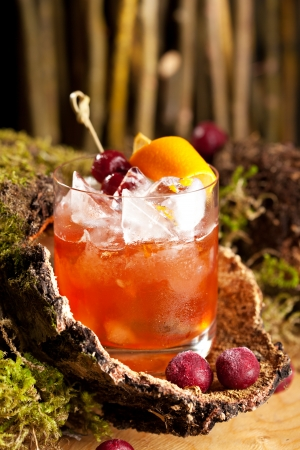 Old Fashion Cocktail - Bourbon, Cane Sugar, Bitter and Orange Peel photo