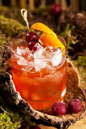 bitter orange: Old Fashion Cocktail - Bourbon, Cane Sugar, Bitter and Orange Peel