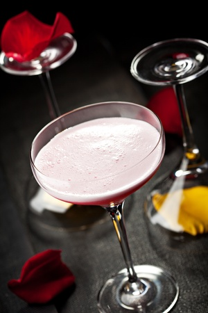 sour clover: Clover Club Cocktail - Gin, Raspberry Syrup, Lemon Juice, Egg White and Sugar Syrup