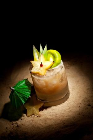 pineapple  glass: Mai Tai Cocktail - Dark Rum, White Rum, Orange Liquor, Almond Syrup, Lime Juice Stock Photo