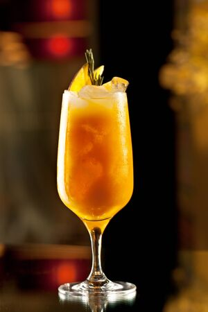 hard liquor: Rosemary Cocktail - Golden Rum, Rosemary, Fruits Juice and Syrup