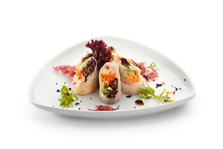 Roll Stuffed with Crab Meat and Vegetables photo