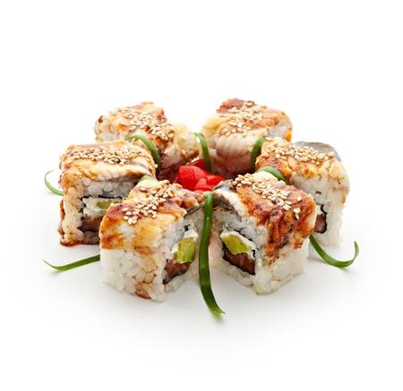 maki: Roll made of Fresh Salmon, Smoked Eel, Cream Cheese and Cucumber inside. Smoked Eel (unagi) outside