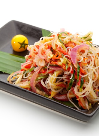 asian noodle: Salad with Rice Noodles and Sliced Vegetables