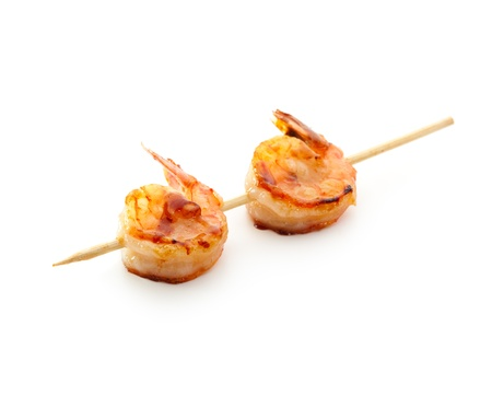 prawn skewers: Grilled Shrimps  isolated over White