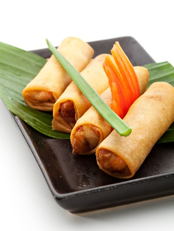vietnamese food: Fried Spring Rolls on Black Dish