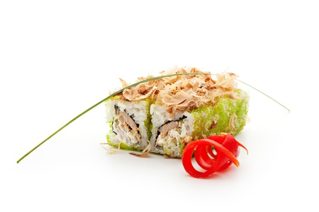 Maki Sushi - Roll with Fried Tuna, Cucumber, Cream Cheese and Tobiko inside. Topped with Dried Shaved Bonito photo