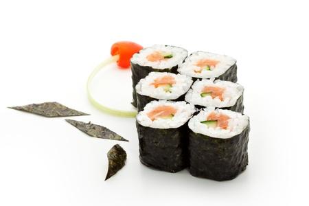 sake maki: Sake Maki Sushi - Roll with Fresh Salmon and Cucumber Stock Photo