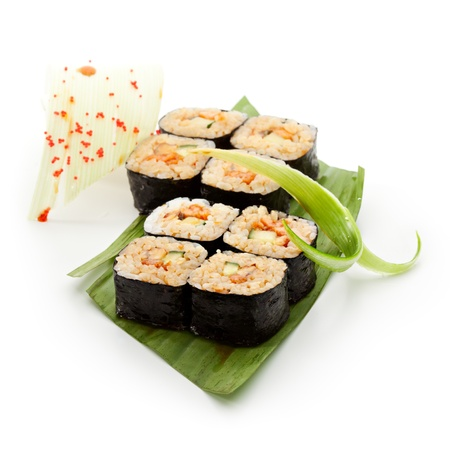 grig: Japanese Cuisine - Sushi Roll with Shrimps and Smoked Eel and Cucumber inside. Nori outside