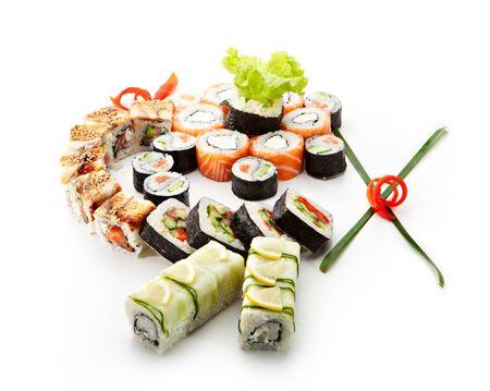 maki: Sushi Set - Different Types of Maki Sushi (Philadelphia roll, Yin Yang Roll, Salmon and Smoked Eel Roll, Vegetarian Roll, Cucumber Roll)