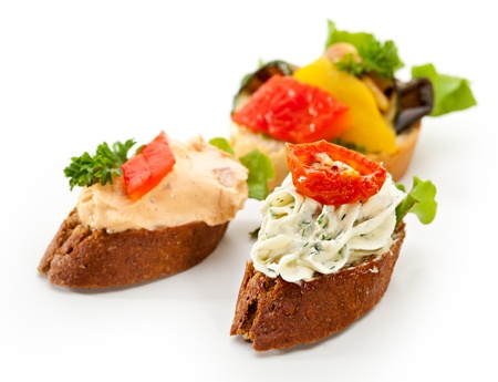 Cheese Canapes with Vegetables and Fruits photo