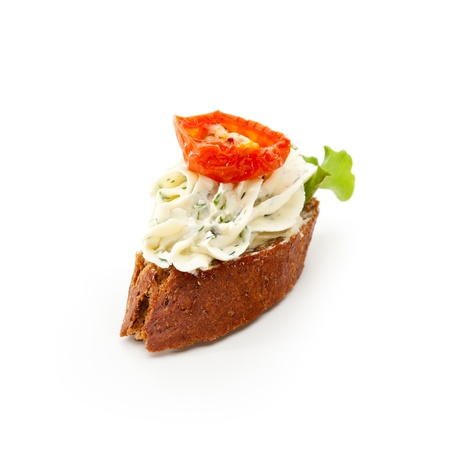 Cheese Canapes - Herbs Cream Cheese with Baked Tomato photo