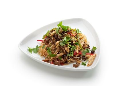 translucent red: Chinese Cuisine - Crystal Noodles with Beef and Asparagus Stock Photo