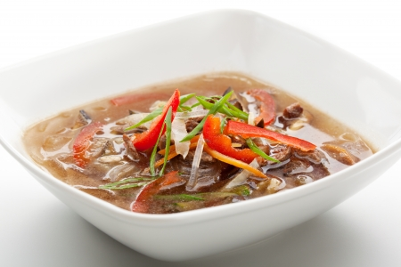Soup with Rice Noodles, Beef and Vegetables photo