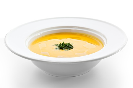 hot soup: Cream of Cauliflower Soup with Green Herb Stock Photo