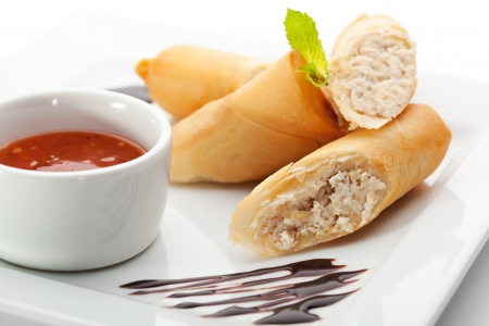spring roll: Chicken Spring Roll with Red Spicy Sauce