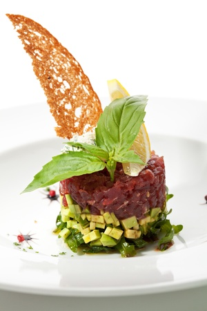 Tuna with Avocado Tartare with Lemon Slice photo