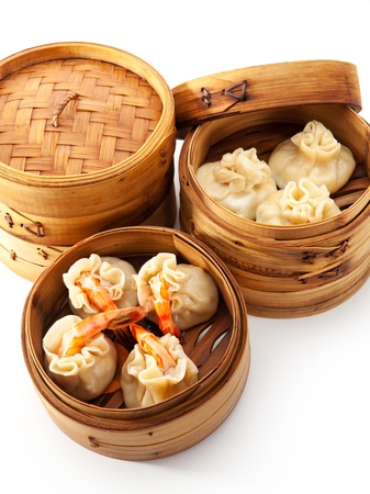 crab meat: Various Dim Sum in Bamboo Steamed Bowl Stock Photo