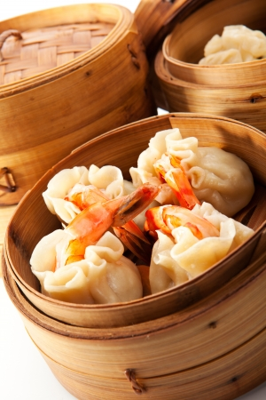 sum: Various Dim Sum in Bamboo Steamed Bowl Stock Photo