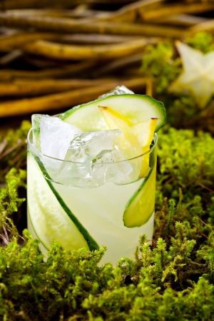 tom collins: Cocktail - Gin Collins with Cucumber Stock Photo