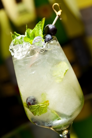 Cocktail with Vodka and White Wine, Grapes, Various Syrup, Lime Juice, Apple Juice and Mint photo