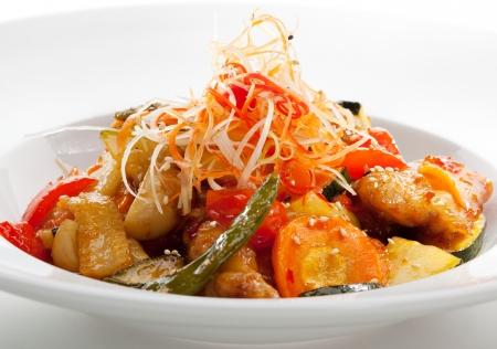 plat chinois: Porc aigre-doux aux l�gumes Banque d'images