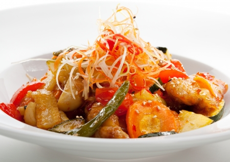 Sweet and Sour Pork with Vegetables Stock Photo - 19038888