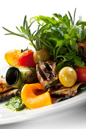 Grilled Vegetables with Fresh Green Herbs photo