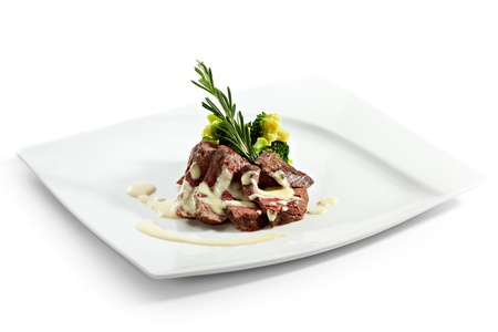 gorgonzola: Fillet of Beef with Broccoli and Asparagus and Gorgonzola Sauce