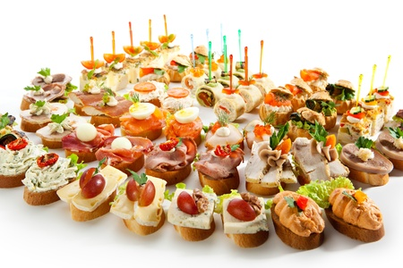 buffet food: Canap�s Foto de archivo