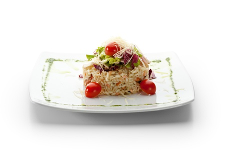 risotto: Risotto with Salmon, Prawns and Cherry Tomatoes. Topped with Salad Leaves