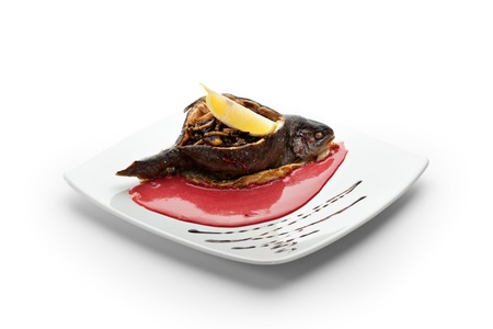 Trout Stuffed with Rice and Fried Mushrooms. Garnished with Lemon Slice and Red Cream Sauce Stock Photo - 19101078