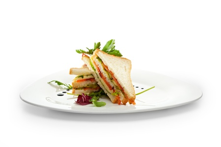 sandwich white background: Club Sandwich with Salmon and Vegetables
