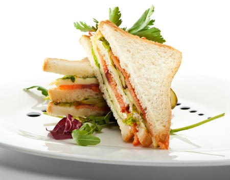 sandwich: Club Sandwich with Salmon and Vegetables