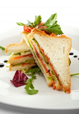 smoked salmon: Club Sandwich with Salmon and Vegetables