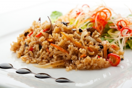 brown rice: Fried Rice with and Vegetables Stock Photo
