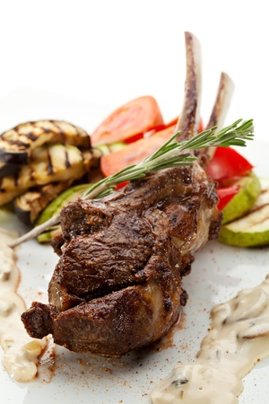 Grilled Rack of Lamb with Mushrooms Sauce and BBQ Vegetables photo