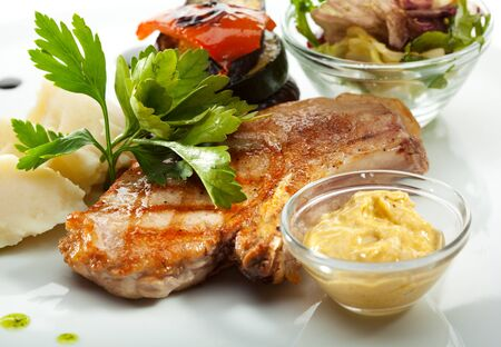 Pork with Mashed Potato and BBQ Vegetables photo