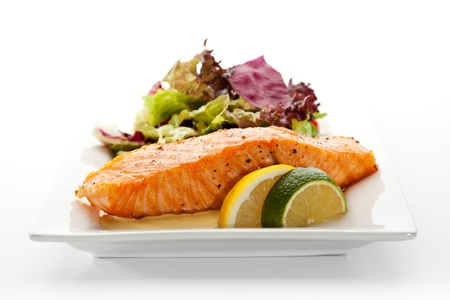 Grilled Salmon with Fresh Salad Leaf Stock Photo