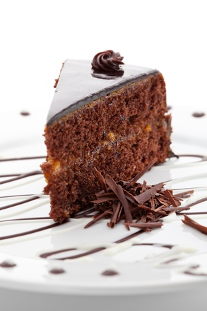 rebanada de pastel: Postre - pastel de chocolate Foto de archivo