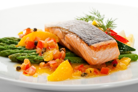cooked fish: Salmon Steak with Fruits, Vegetables, Asparagus and Lemon